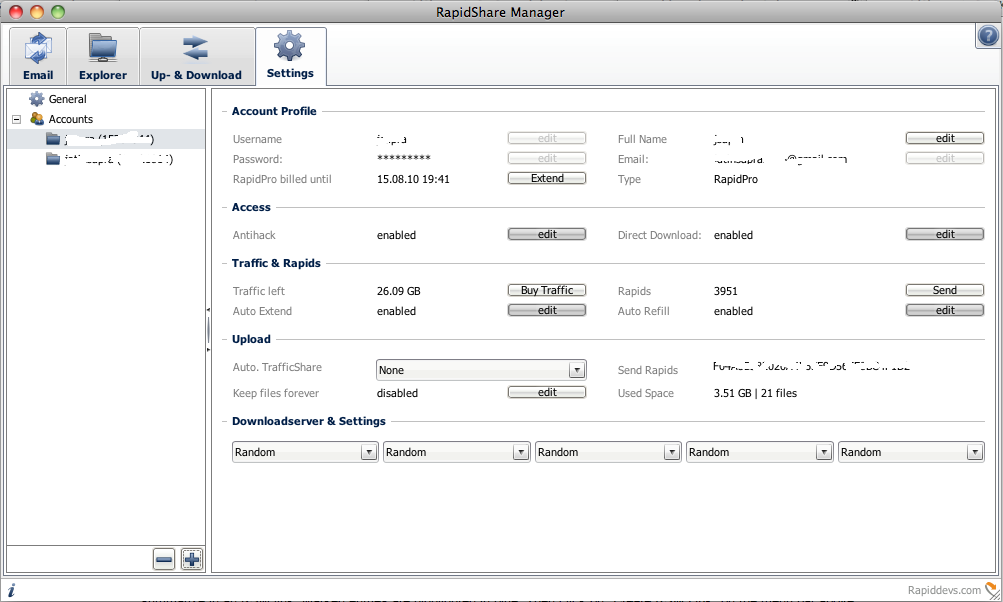 rapidshare manager